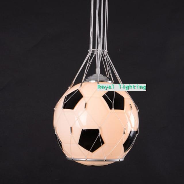 Bar 1 pcs Glass football pendant lamp children room Soccer ball glass light  kid's white & black pendant light  E27 bar light