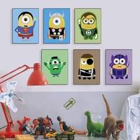 Kawaii Funny Superhero Avengers Batman Movie Poster Prints Pop Wall Art Pictures Nordic Boy Kids Room Decoration Canvas Painting
