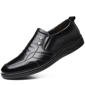 3177 New Men's Genuine Leather Shoes Round Head Soft Bottom Soft Surface Anti-skid Single Father's Shoe Designer Men Shoes