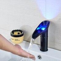 Olie Gewreven Brons LED Kleurverandering Sensor Badkamer Kraan Sink Tap Alleen Koud Water