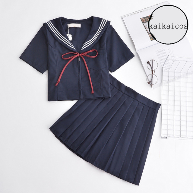 6b458de8ce Japonés Harajuku Uniformes para el colegio azul marino manga corta Top +  falda para las mujeres
