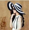2017 Новые моды для женщин лето большой брим соломы sun beach hat ширина соломы черный белый полосатый флоппи шляпа-панама