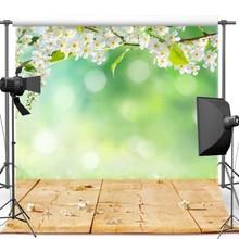 Bokeh verde Flor Branca Folhas Marrom Piso de Madeira parede de Vinil pano de fundo pano de Alta qualidade de impressão Computador Fundos