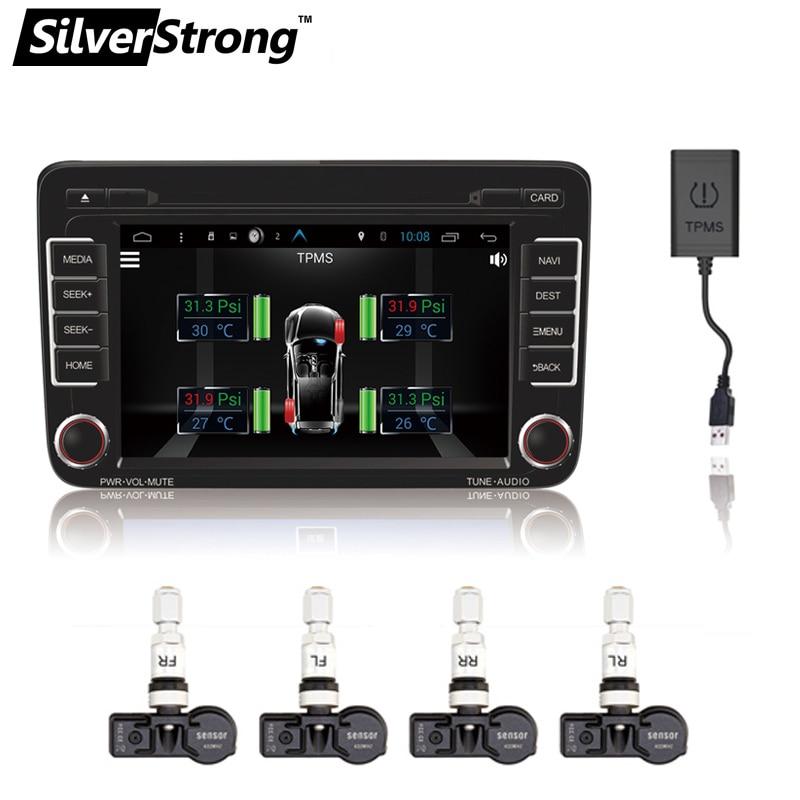 imágenes para SilverStrong TPMS para Android de DVD DEL COCHE Sistema de 4 Sensores de Alarma de Monitoreo de Presión de Neumático Del Neumático de Coche Sistema de Monitoreo de Temperatura