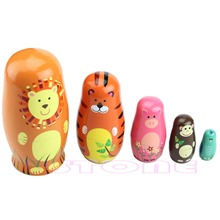 5Pc Cute Animal Nesting Dolls Matryoshka Babushka Wooden Russian Doll Paint Gift mnotht 7 layer wooden russian dolls handmade paint animal pattern tasteless dry basswood matryoshka doll education toys l30