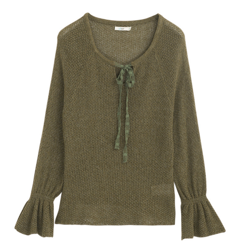 INMAN Spring Spring Autumn Round Collar Bandage Loose Style Flare Sleeve Women Pullover Sweater