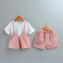 DIIMUU Kids Fashion Girls Outfits Summer Children Shorts Clothing Cotton Casual Plaid Vest Tshirts Pants Toddler Sets