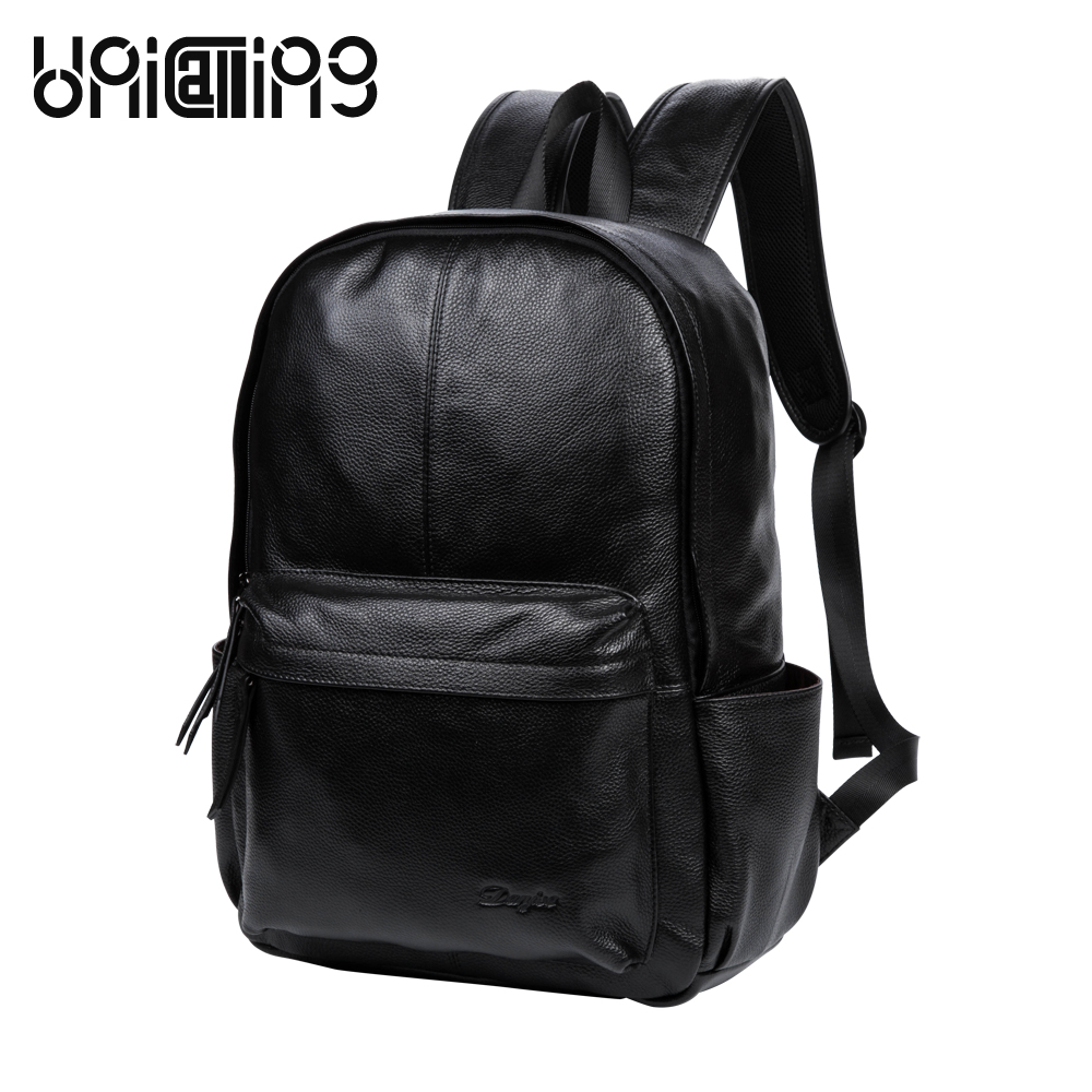 UniCalling men leather backpack bag casual stylish for business cool black