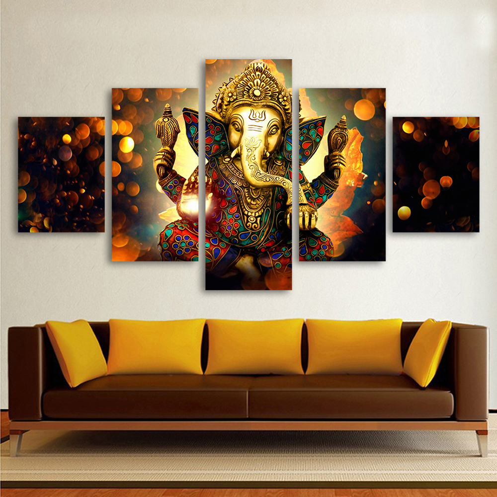Hdartisan Canvas Painting Wall Art Home Decor For Living Room Hd Prints 5 Pieces Elephant God