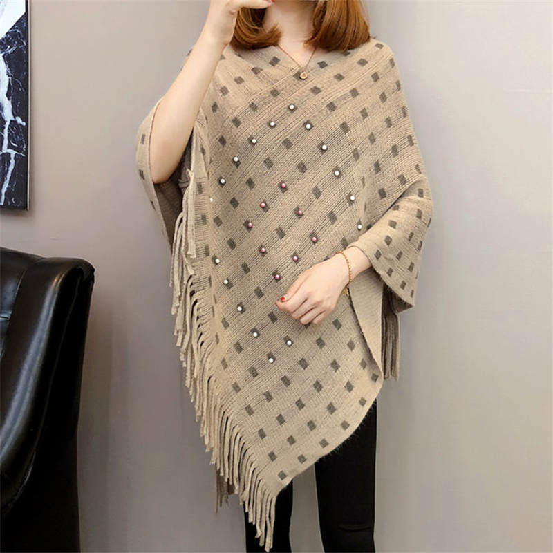 Autumn And Winter Knitted Tassels In The Long Section Of The Shawl New Loose Cape Coat Female Bat Shirt