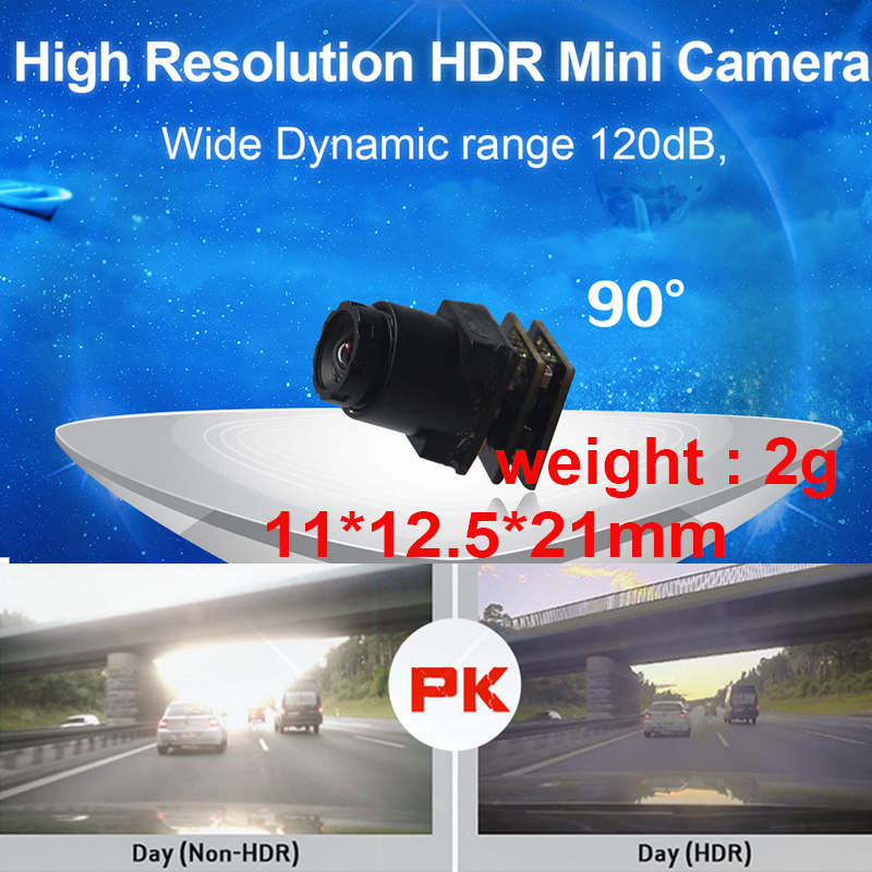 wide dynamic 120dB HDR 1000 TV line mini camera 60 fps drone camera 90 degree CCTV