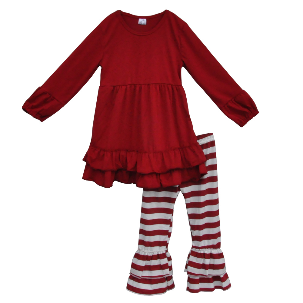 Children Clothing Sets Fall Retail Wholesale Casual Baby Clothes Cotton Top And Pant Ruffle Boutique Toddler