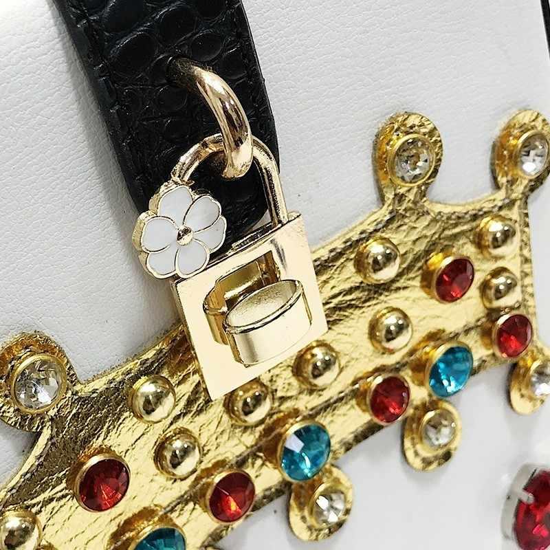 Роскошные модные бриллиантами замок Для женщин кожаная сумка Одежда высшего качества Курьерские сумки небольшой кристалл Вечеринка кошелек плеча сцепления