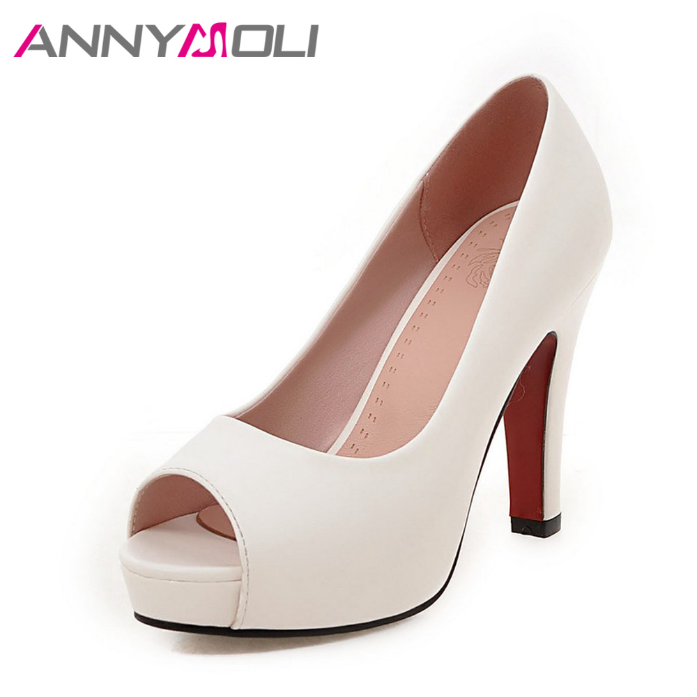 ANNYMOLI Women Pumps High Heels Platform Höst Open Toe Women Kontorsskor Eleganta Ladies Pumps Plus Storlek 33-43 Spike Heel Shoe