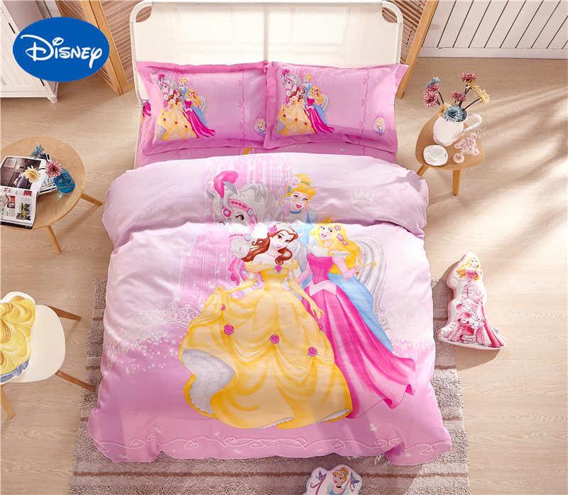 Disney princesse 3D couvre ensembles de literie enfants filles enfant couvre-lits Polyester tissé chambre décor simple jumeau complet reine rose