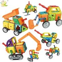 75pcs Standard Size Engineering vehicle construction Magnetic Building Blocks DIY 3D Bricks Children Educational Toys for kids