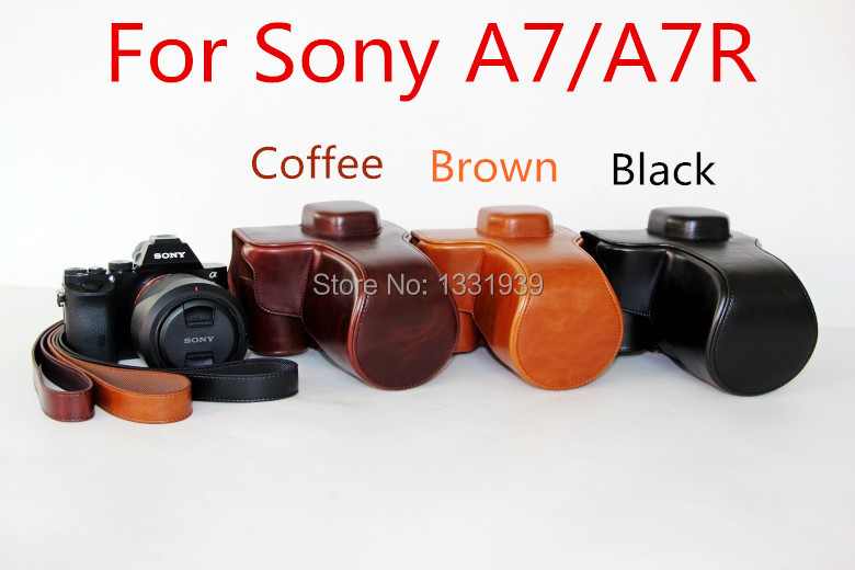 new model camera leather case for Sony A7R A7 Digital Camera with shouder strap in high quality, free shipping!