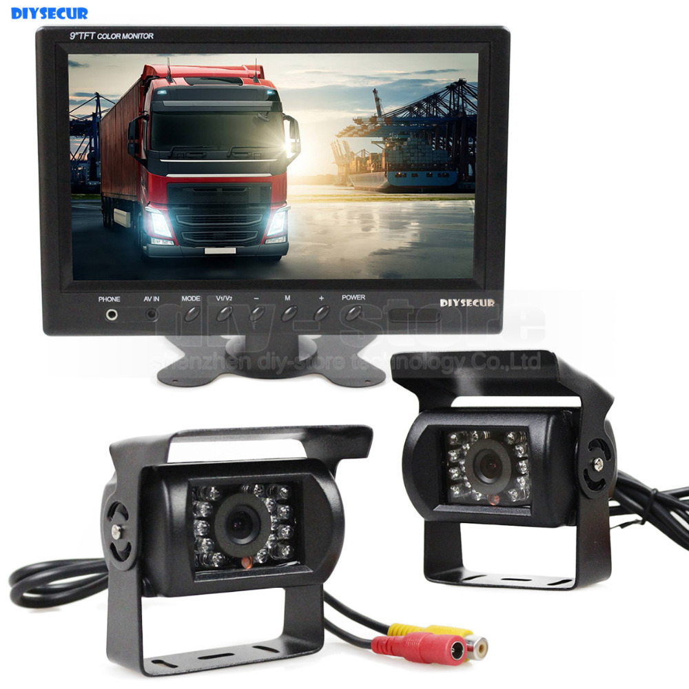 DIYSECUR Wire 9 inch Rear View Monitor Car Monitor + 2 x Rear View Waterproof CCD Car Camera Kit for Bus Horse Trailer Motorhome car mp5 player bluetooth hd 2 din 7 inch touch screen with gps navigation rear view camera auto fm radio autoradio ios