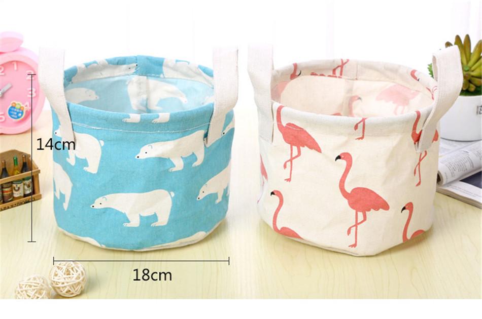 Cute Printing Cotton Linen Desktop Round Storage Organizer Sundries Box Cabinet Underwear Jewelry Cosmetic Stationery Basket (2)