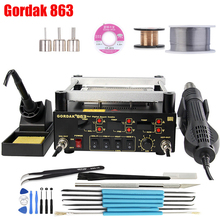BGA Rework Solder Station 3 in 1 Digita Electric Soldering iron Hot Air Heat Gun IR Infrared Preheating Station Gordak 863