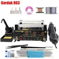 BGA Rework Solder Station 3 in 1 Digita Electric Soldering iron Hot Air Heat Gun IR Infrared Preheating Station Gordak 863