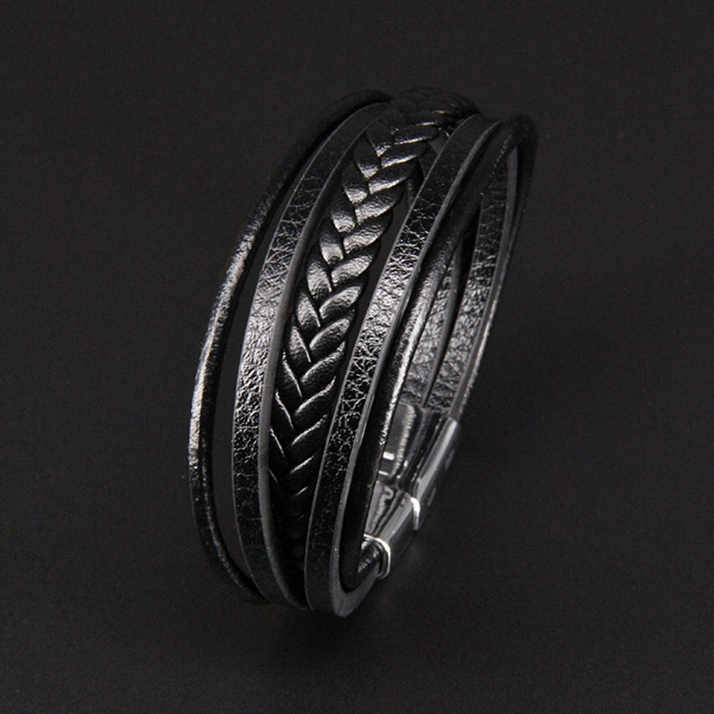 NIUYITID Men Leather Bracelet Magnet Buckle Vintage Male Braid Jewelry For Women Handmade Multi layer Wrist Band Gifts  (6)