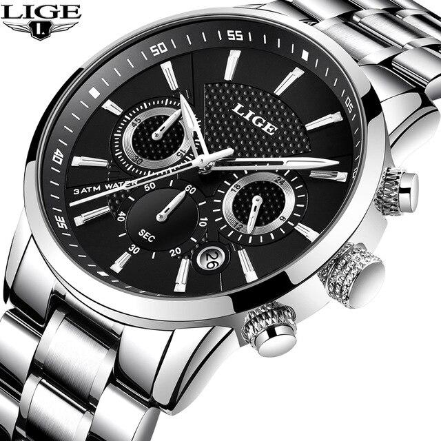 Hommes de Montre LIGE Top Marque De Luxe Hommes Montres À Quartz D'affaires Sport Étanche Mode Casual Militaire Mâle Horloge reloj hombre