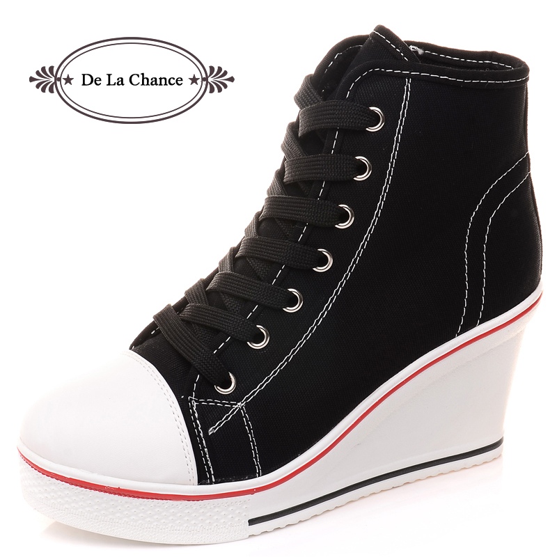 Free Shipping 2016 Badge Wedges High Lacing Casual Elevator Shoes - Women's Shoes