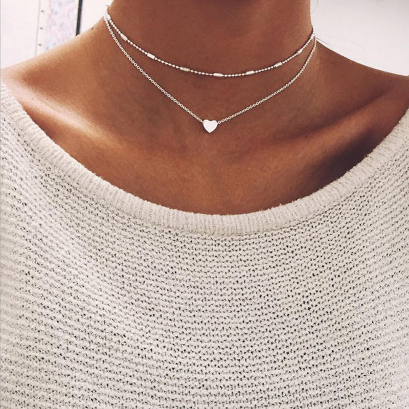 New Multi Layer Tiny Small Heart Moon Choker Necklace for Women Gold Color Short  Chain Pendant Collar Necklace Jewelry Gift