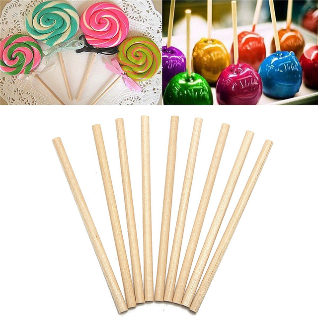100pcs/Set Round Wooden Lollipop Lolly Sticks 10cm Cake Dowels For DIY Food Crafts Candy Decor Rod Party Events Supplies