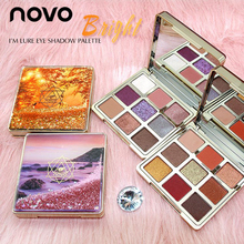 NOVO Quick Sanding Eyeshadow Makeup Pallete 9 Color Waterproof Make Up Glitter w