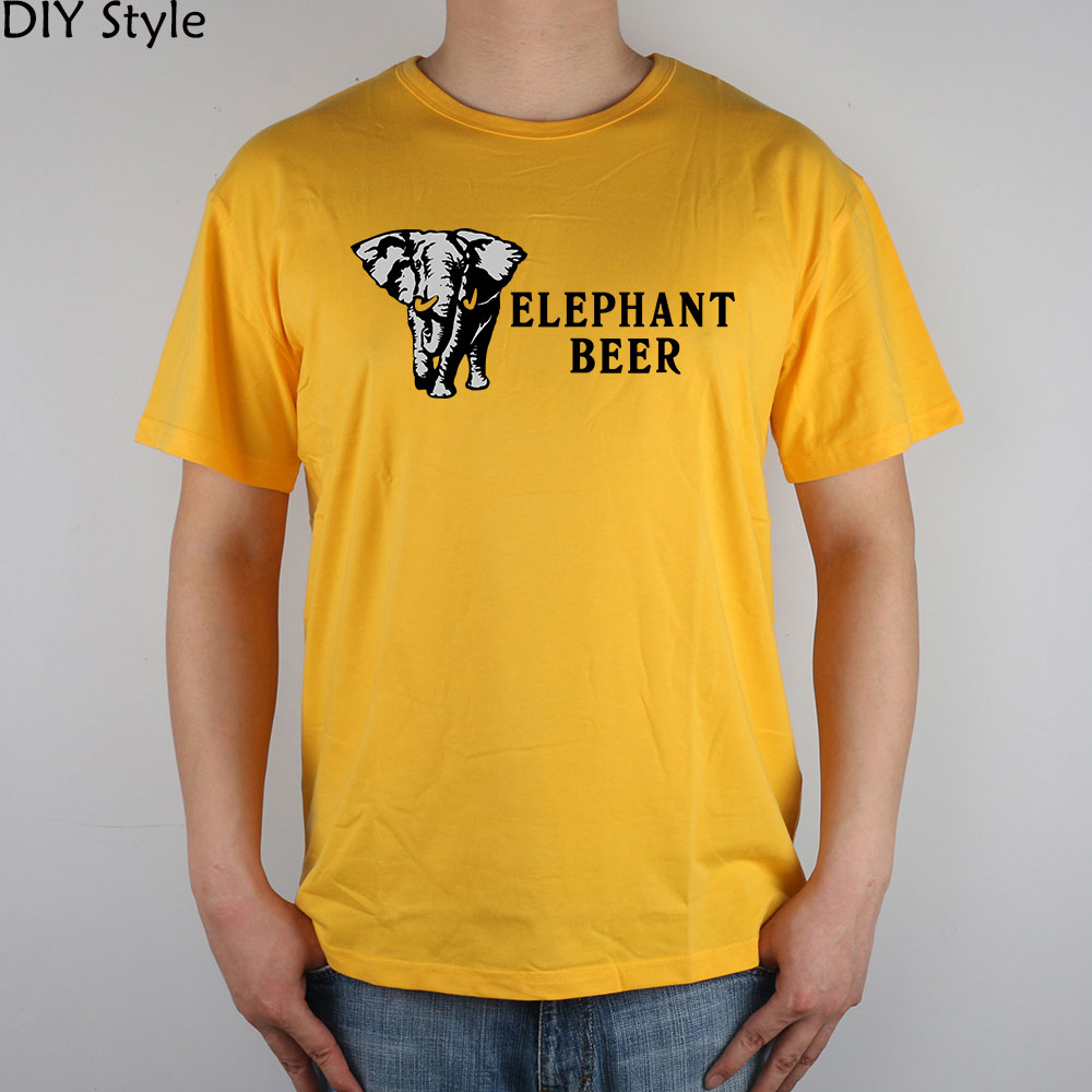 Elephant Beer T-shirt cotton Lycra top 11031 Fashion Brand t shirt men new DIY Style high quality