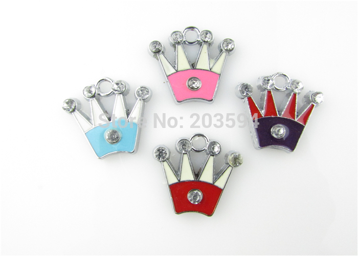 AE80 100Pcs Mixed Enamel Alloy Crown Charms Pendants DIY Jewelry Findings Floating Charm 21x20mm
