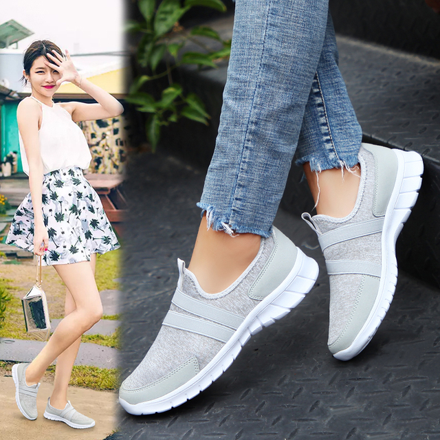 Women Sneakers tenis casual feminino casual shoes Woman Flats Slip on Splice ladies shoes Black Gray Blue Plus Size 40 41 42 4
