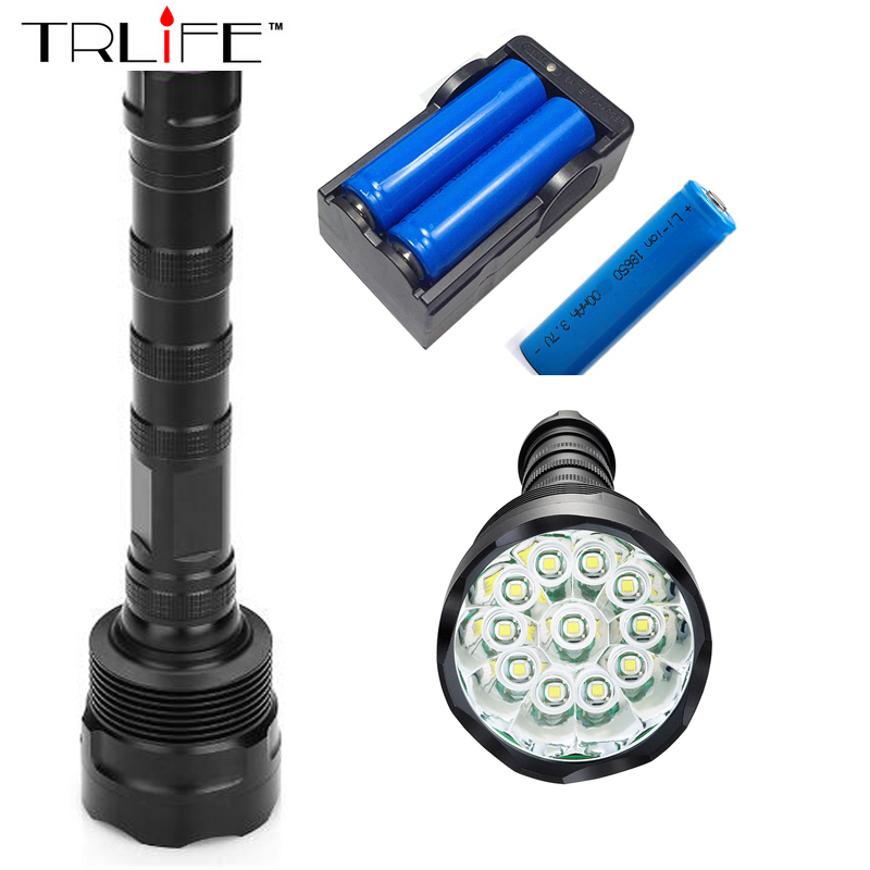 12T6 Torch LED Flashlight 55000 Lumens Lamp Lights 12 XM-L T6 Flash Light Floodlight Camping Lantern Hunting + 3x 18650 +Charger 3800 lumens cree xm l t6 5 modes led tactical flashlight torch waterproof lamp torch hunting flash light lantern for camping z93