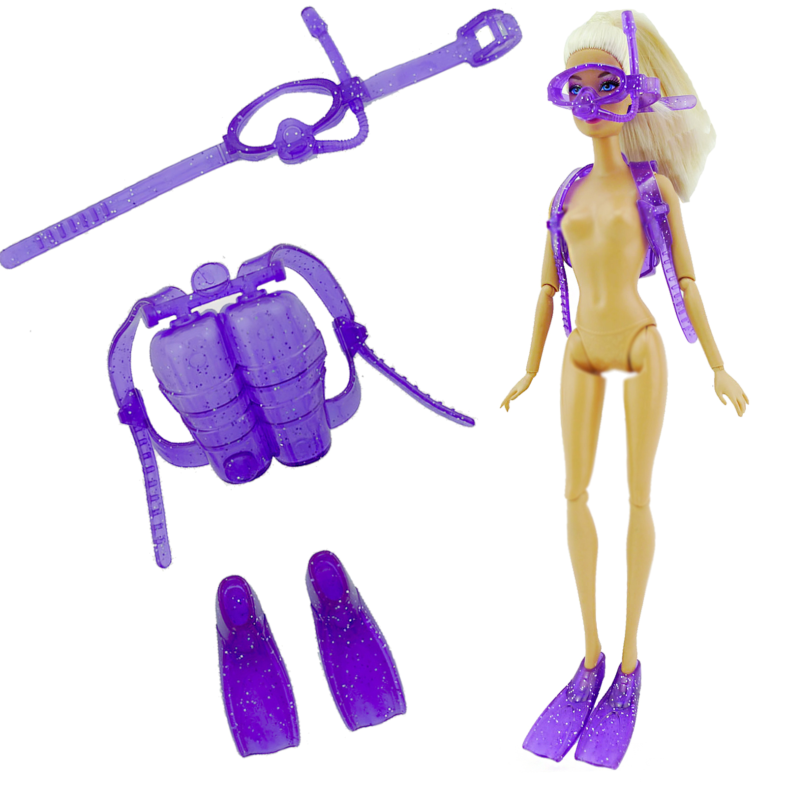 1 Set Purple Sea Swim Diving Equipment Plastic Oxygen Tank Swimming Glasses Feets For Barbie Doll Accessories Girl Toy