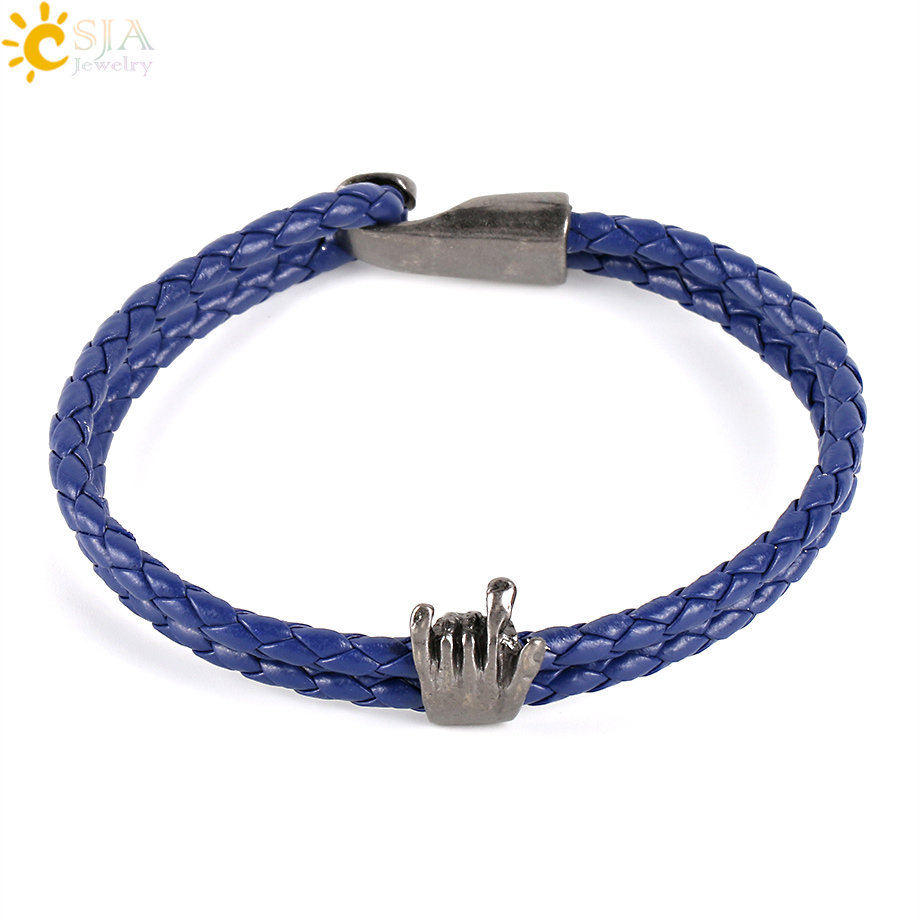 CSJA Vintage Faux Leather Cord Bracelets Hamsa Hand Wristband Braided Double Layer Hiphop Style Pulsera Jewelry Men Women P001