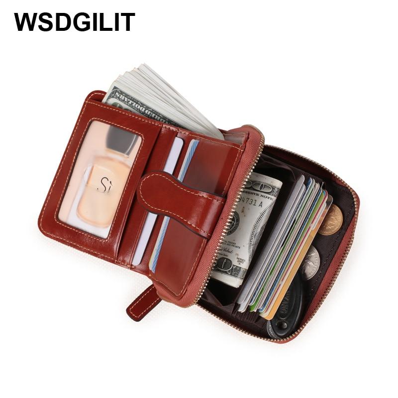 Short Female Cow Leather Wallet Rfid Women Wallets Genuine Leather Coin Purse Small Card Holder Lady Purse Handy Bolsa Feminina