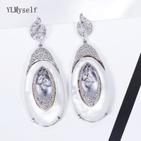 Excellent high grade Luxury long shell earring Gold & white plate jewellery big Oval drop earrings