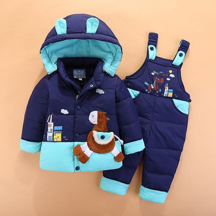 children clothing Kids down animal horse Baby Girl boy hooded coat Jackets+bib pants parkas Clothes baby winter snowsuits boy