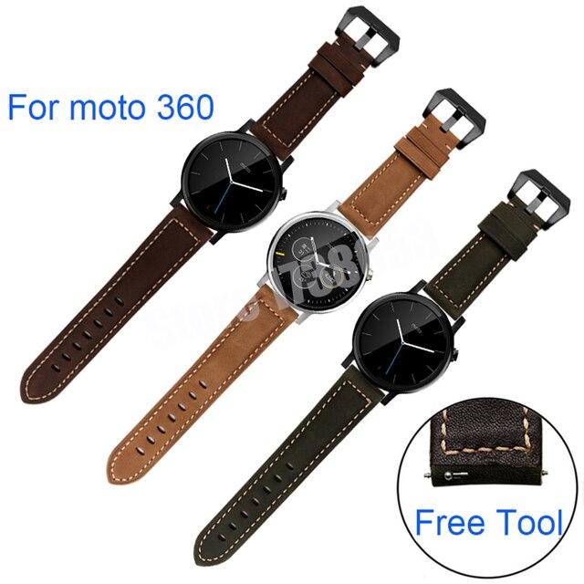 Venda de reloj de la correa de lujo del cuero genuino para motorola moto 360 1nd/segundo 42mm46mm reemplazo pulsera