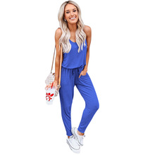 2019 spring and summer womens new five-color short-sleeved straps jumpsuit explosion BONJEAN