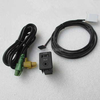 Aux Usb Input Adapter Schakelaar Met Wisselaar Kabel Voor Vw Volkswagen Passat B6 B7 Cc Touran Golf MK6 5 Jetta RCD510 RCD310