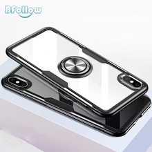 BFollow Transparent Silicone Case with Ring for iPhone 6 6S 7 8 Plus / X XS Max XR Soft Clear Acrylic Cover
