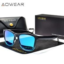 AOWEAR, унисекс, квадратные поляризованные солнцезащитные очки для женщин, с прозрачным покрытием, зеркальные солнцезащитные очки для женщин и мужчин, крутые прозрачные Винтажные Солнцезащитные Очки