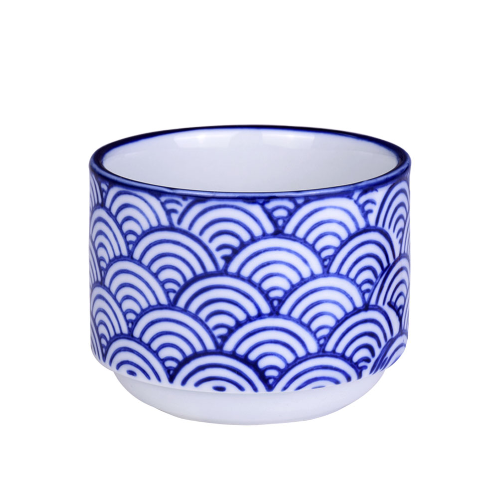 Wituse Flowerpot Wooden Pot Tray Anese Style Wave Pattern Ceramic Garden Pots Succulent Planter Blue White Flower
