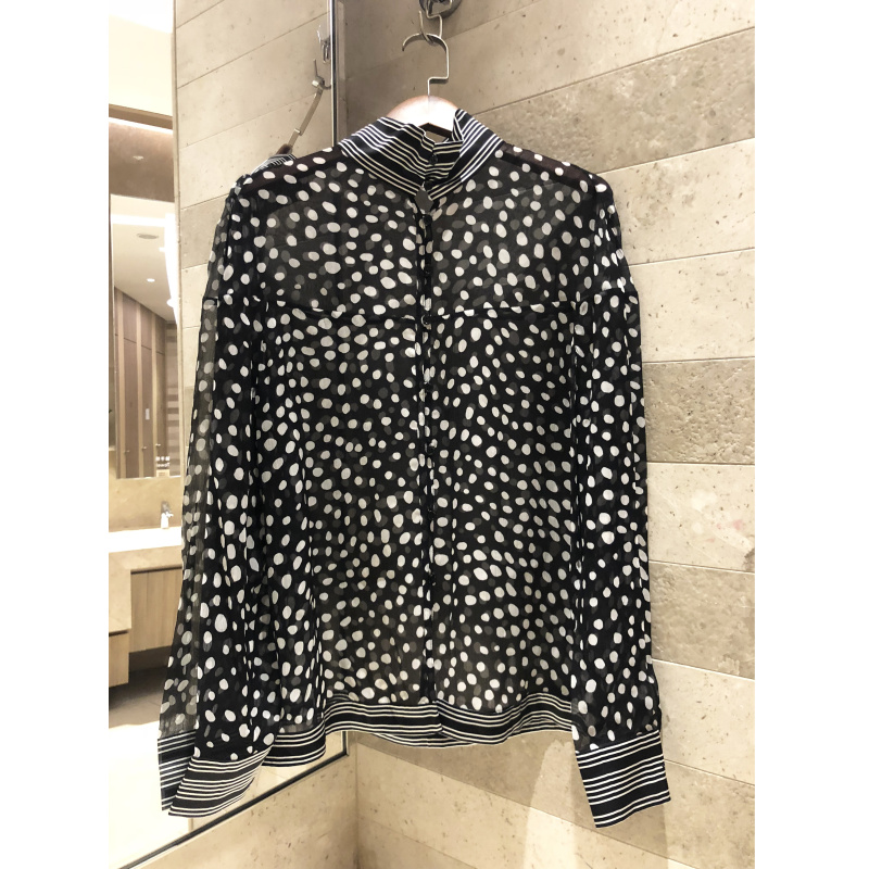 Chemise à pois pour femmes chemise à manches longues en soie col montant décontracté chemise nouveau modèle de base pour femmes 2019 printemps et été
