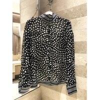 Women's polka dot shirt silk long sleeved shirt stand collar casual shirt shirt new women's basic models 2019 spring and summer