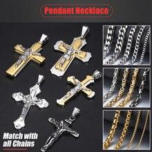 Cross-Pendant Stainless-Steel Jesus Silver-Color Davieslee Gifts Christ Gold Black Men