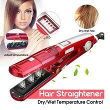 Волосы Kemei уход и инструменты для укладки паровой выпрямитель для волос Сухие и влажные выпрямители пластины вафли для волос плоский Утюг Steampod 4